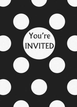 Midnight Black Polka Dot Party Invitations 8pk