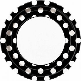 "Midnight Black Polka Dot  9"" Party Paper Plates 8pk"