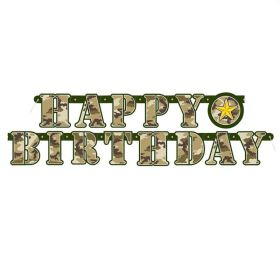 Military Camo Happy Birthday Jointed Banner 1.6m