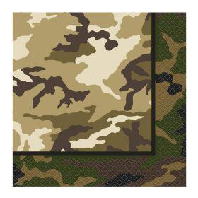 Military Camo Napkins 33cm x 33cm, pk16
