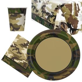 Military Camo Party Tableware Pack for 8