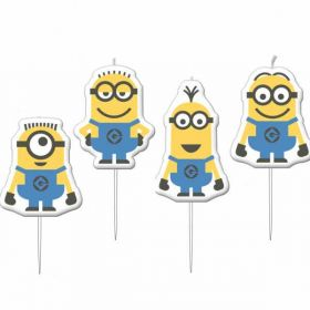 Minions Despicable Me Mini Figurine Candles pk4