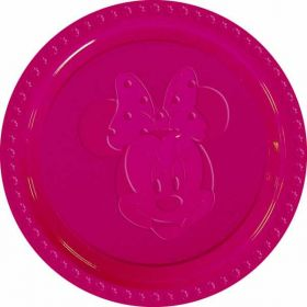 Minnie Mouse Embossed Party Plates Pink 23cm 6pk