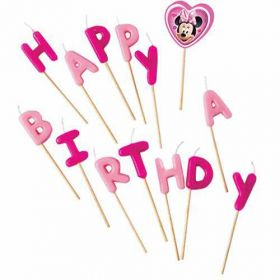 Minnie Mouse Happy Birthday Pick Candles pk14