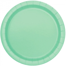 Mint Green Paper Plates 23cm, pk8