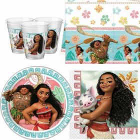Moana Party Pack For 8 including tableware and 8 filled party bags