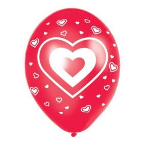 Modern Hearts Balloons (Red) 6pk