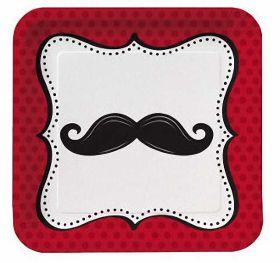 "Moustache Madness 9"" Square Paper Plates, 8pk"