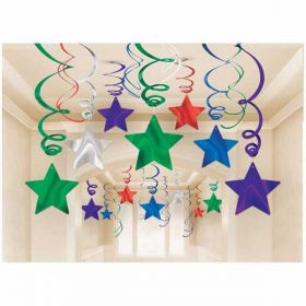 Multi Colour Swirls and Stars Decoration Pack ( 30 Pieces )