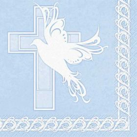 Dove Cross Christening Communion Boy Blue Party Napkins 16pk