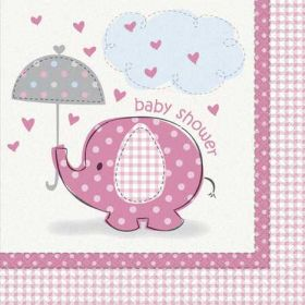 Umbrellaphants Baby Shower Pink Luncheon Baby Shower Napkins 16pk