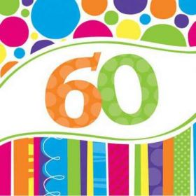 60th Bright & Bold Napkins pk18