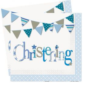 Christening Blue Bunting Party Napkins Pk16