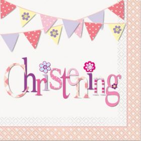 Christening Pink Bunting Party Napkins Pk16