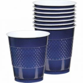 Navy Flag Blue Plastic Cups, pk20