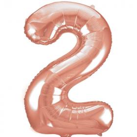 """Rose Gold Number 2 SuperShape Foil Balloon 34"""""""