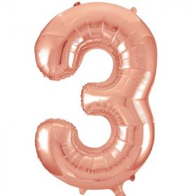 """Rose Gold Number 3 SuperShape Foil Balloon 34"""""""