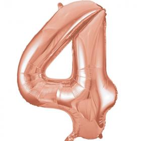 """Rose Gold Number 4 SuperShape Foil Balloon 34"""""""