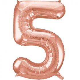 """Rose Gold Number 5 SuperShape Foil Balloon 34"""""""