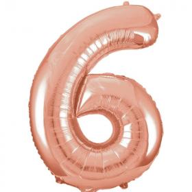 """Rose Gold Number 6 SuperShape Foil Balloon 34"""""""