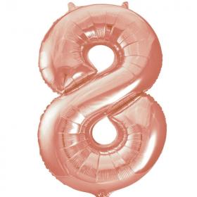 """Rose Gold Number 8 SuperShape Foil Balloon 34"""""""