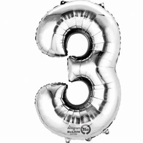 "Number 3 Silver Minishape Foil Balloon 16""/""4cm"