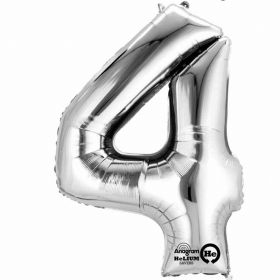 "Number 4 Silver Minishape Foil Balloon 16""/""40cm"