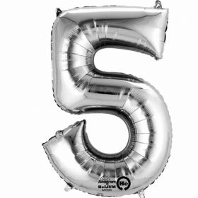 "Number 5 Silver Minishape Foil Balloon 16""/""40cm"