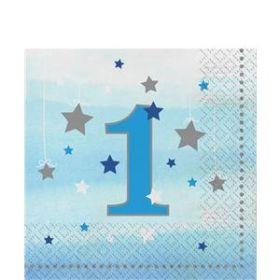 One Little Star Boy 1st Birthday Napkins pk16