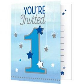 One Little Star - Boy Party Invitations with attachment pk8
