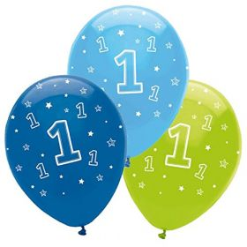 One is Fun Boy Helium quality latex balloons pk6