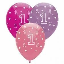 One is Fun Girl Helium quality latex balloons pk6