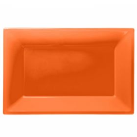 Orange Plastic Serving Trays, pk3