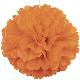 Orange Paper Puff Ball Party Decoration 40cm