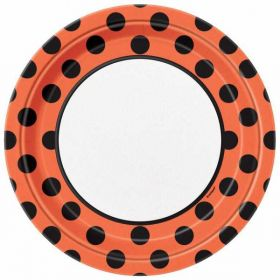 Orange & Black Dots Party Plates 9 ins pk8