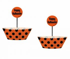 Orange and Black Dots Cupcake Kit, 24 cups and picks