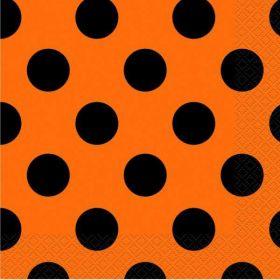 Orange & Black Dots Halloween Party Napkins, pk16