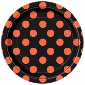 Orange & Black Dots Halloween Party Plates 7 ins pk8
