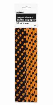 Orange and Black Polka Dot Halloween Straws 10pk