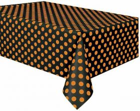 Orange & Black Dots Halloween Party Tablecover, plastic