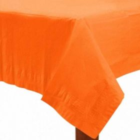 Orange 3 Ply Paper Tablecover with plastic backing