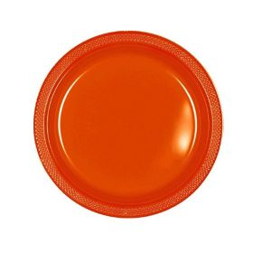 Orange Plastic Party Plates 18cm, pk20