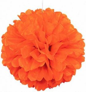 Orange Paper Puff Ball Hanging Party Decoration