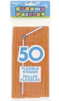 Orange Flexible Straws 50pk
