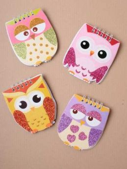 Owl Notebook with Glitter