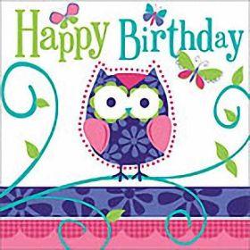 Owl Pal Birthday Paper Napkins pk16