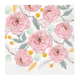 Painted Pink Floral Napkins 33cm x 33cm, pk16