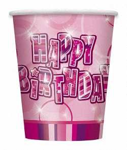 Pink Glitz Happy Birthday Paper Party Cups 8pk