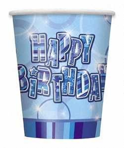 Blue Glitz Happy Birthday Paper Party Cups 8pk