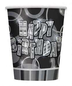 Black Glitz Happy Birthday Paper Party Cups 8pk